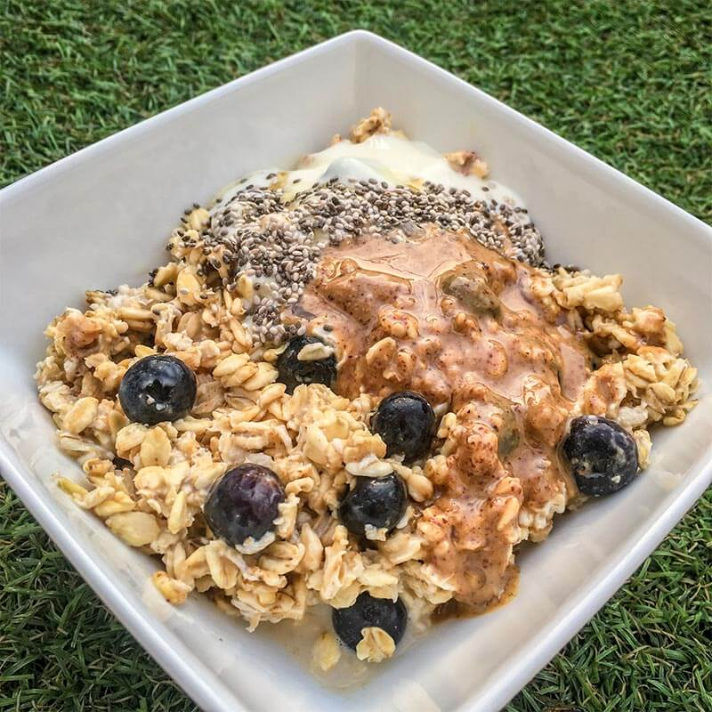 Sweet Blueberry and Salty Peanut Butter Overnight Oats