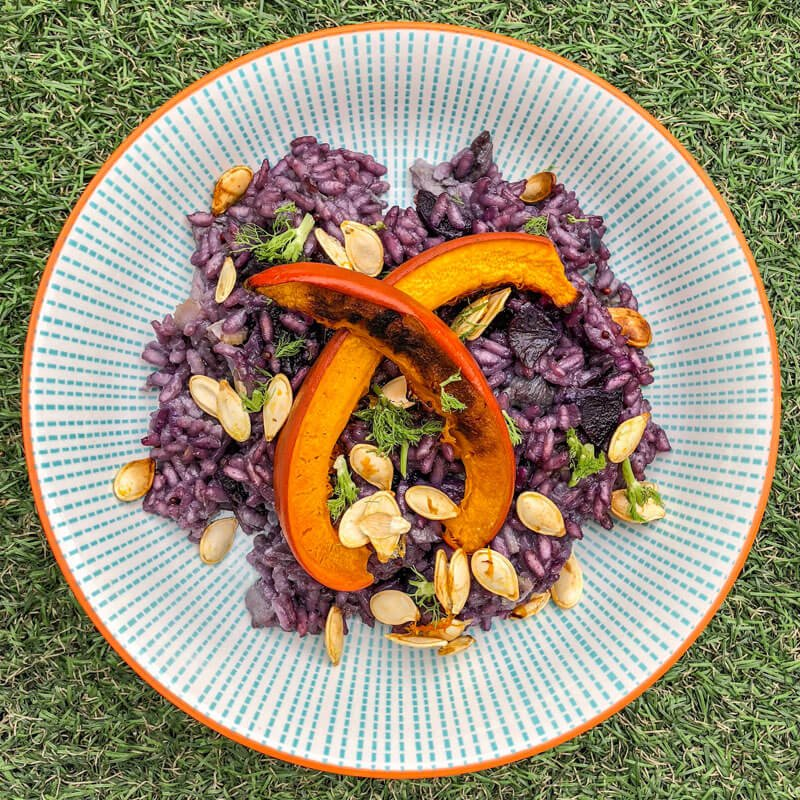 Purple Carrot And Pumpkin Risotto
