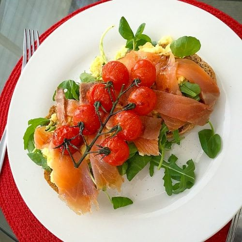 Salmon Scrambled Eggs with Balsamic Cherry Tomatoes